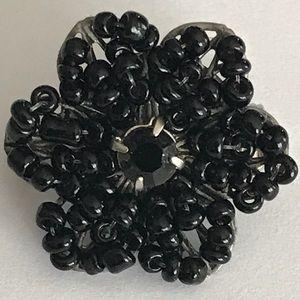 Jewelry - Mini black beaded brooch